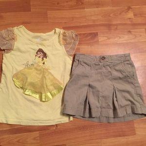 Disney Belle top skort tan little girls size 6/7
